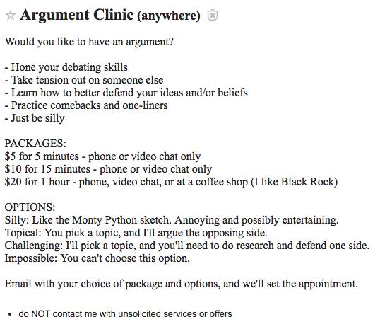 Argument Clinic craigslist ad