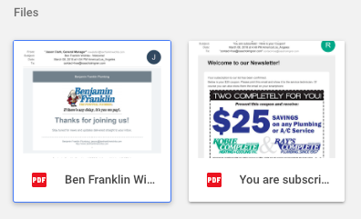 Plumber newsletters in their special Google Drive folder